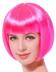 Parrucca corta rosa fluo per donna