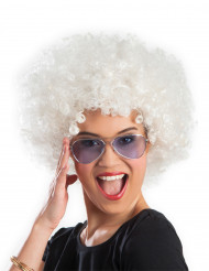 Parrucca riccia bianca voluminosa per adulti