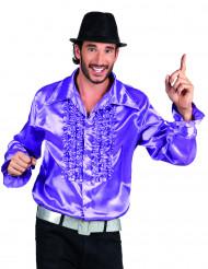 Camicia stile disco viola da uomo