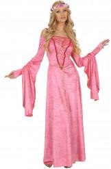 Costume rosa medievale per donna