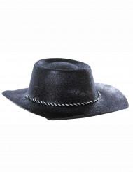 Cappello cowgirl con paillettes nero adulto