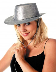 Cappello cowgirl con paillettes color argento adulto
