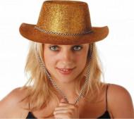 Cappello cowgirl con paillettes color oro adulto