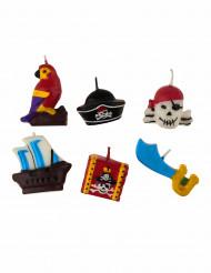 6 Candele con tema pirati
