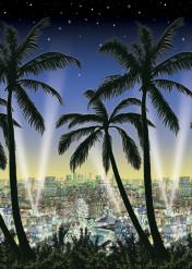 Decorazione murale città con palme