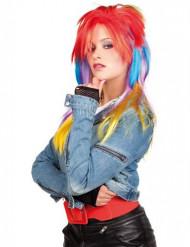 Parrucca punk multicolor da donna