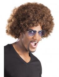 Parrucca riccia marrone voluminosa per adulti