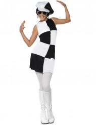 Costume disco quadri bianchi e neri donna