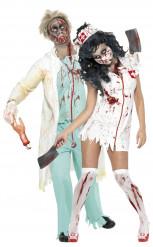 Costume di coppia Dottore e Infermiera zombie per Halloween