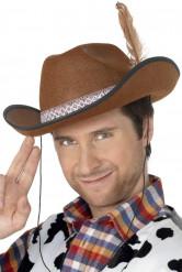 Cappello da cowboy marrone con piuma