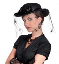 Cappello con velo e ragnatela per donna