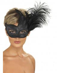 Maschera di colore nero con paillettes argentate e piume per adulto
