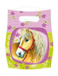 Sacchetti fuxia per feste con stampa cavallo