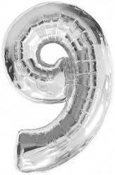 Palloncino in alluminio argentato numero 9 35 cm
