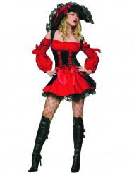 Costume da pirata per donna rosso e nero