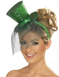 Mini cappello a cilindro verde da donna
