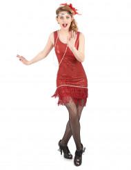 Costume stile charleston rosso da donna