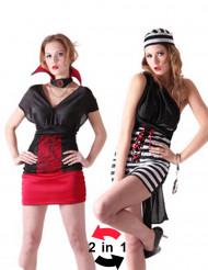 Costume reversibile vampiro e carcerata donna