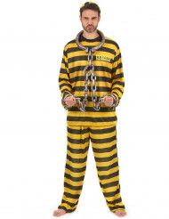 Costume adulto giallo e nero da carcerato