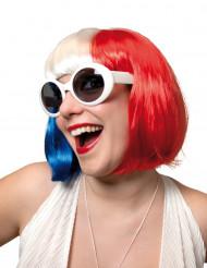 Parrucca blu bianca e rossa