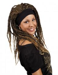Parrucca rasta castana da donna con fascia