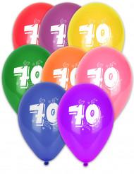 8 palloncini con l'età stampata