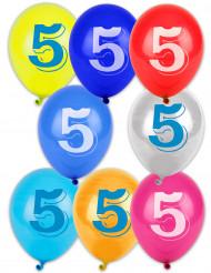 8 palloncini con il numero 5