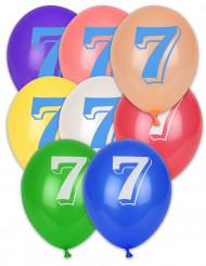 8 palloncini con scritta numero 7