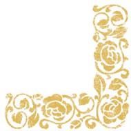 20 tovaglioli con decoro floreale dorato