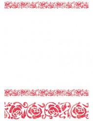 Tovaglia ornata con arabeschi rossi