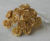 Sacchetto di 12 piccole rose in lurex dorato