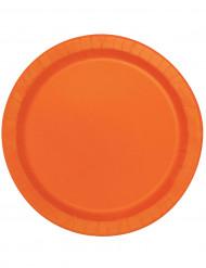 16 Piatti tondi color arancio di carta
