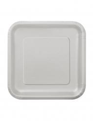 16 piattini color argento in cartone