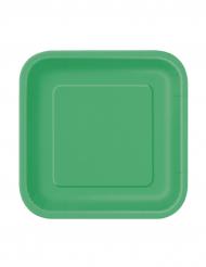 16 piattini quadrati colore verde smeraldo