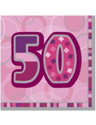 16 tovaglioli rosa per i 50 anni