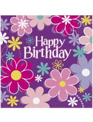 16 Tovaglioli di carta Happy Birthday fiori da 33 cm