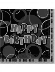 16 tovaglioli Happy Birthday grigi