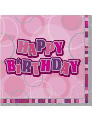 16 tovaglioli Happy Birthday rosa