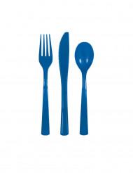 18 posate in plastica blu