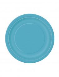 20 piattini di carta rotondi in turchese 18 cm