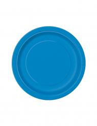 20 piattini blu rotondi di carta 17 cm