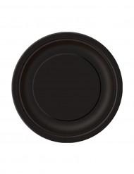 20 piatti neri tondi in cartone