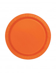 20 piatti tondi arancione di cartone