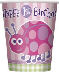 8 bicchieri rosa First Birthday
