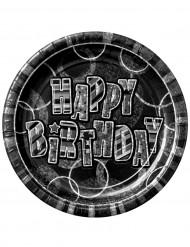 8 piatti Happy Birthday grigio metallizzato