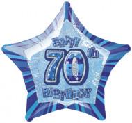 Palloncino in alluminio blu a forma di stella 70 anni