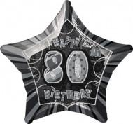 Palloncino gonfiabile a forma di stella in alluminio di colore grigio per festeggiare gli 80 anni