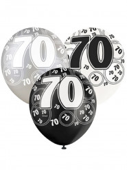 6 palloncini neri grigio e bianchi 70
