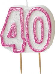 Candelina 40 anni rosa