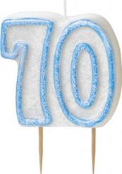 Candelina 70 anni blu